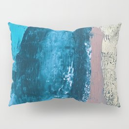 A river runs through it: a minimal, abstract mixed media piece in blue and gold by Alyssa Hamilton Pillow Sham