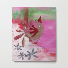 Dancing Bird by Lizzie's Ink Metal Print