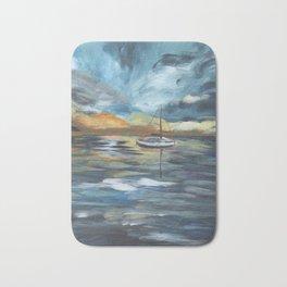 Boat on Blue Seas Bath Mat