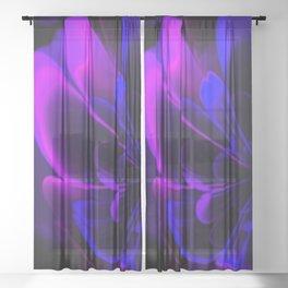 Stylized Half Flower Indigo Sheer Curtain