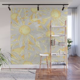 Floral Pattern Daisies, Sunshine Yellow Wall Mural