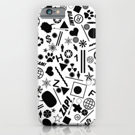 Bits And Pieces - Eclectic Black And White Random Pattern iPhone Case