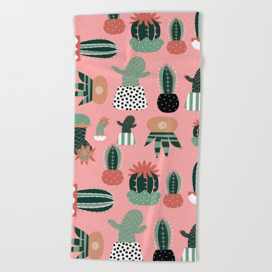 Succulents Pink Beach Towel