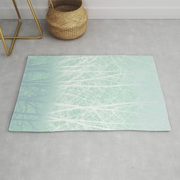 Frosted Winter Branches in Misty Green Rug