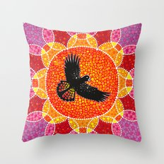 Flight of the Black Cockatoo Throw Pillow
