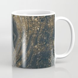Grey Marble Gemstone With Gold Coffee Mug