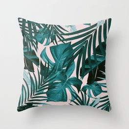 Tropical Jungle Leaves Pattern #3 #tropical #decor #art #society6 Throw Pillow