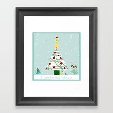 Christmas Birdies by the Tree Framed Art Print