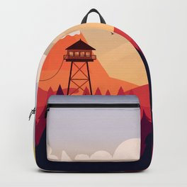 Vector Art Landscape with Fire Lookout Tower Backpack