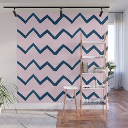 Geometric baby pink navy blue watercolor chevron Wall Mural