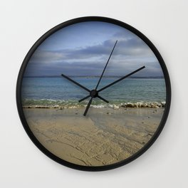 Patterns in the Sand with Blue Skies Above Wall Clock
