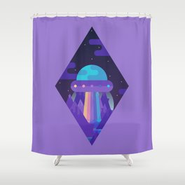 ROYGBIV Flying-Saucer Shower Curtain