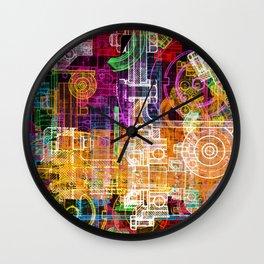 Grunge tech print Wall Clock