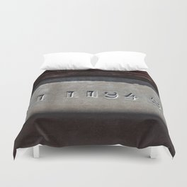 Hammered Serial Number In Metal Plate Duvet Cover