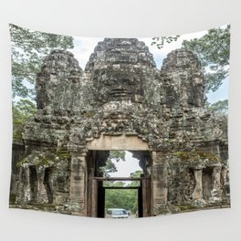 Leaving Through the Angkor Thom South Gate, Siem Reap, Cambodia Wall Tapestry