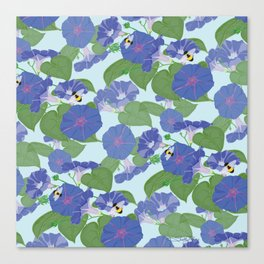 Glory Bee - Vintage Floral Morning Glories and Bumble Bees Canvas Print