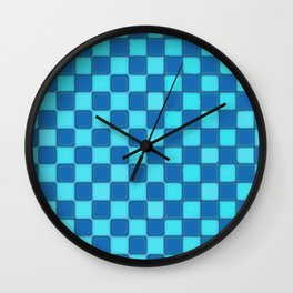 Checker Game:  Sky Blue and Royal Blue Wall Clock