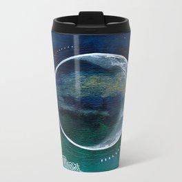 Crescent Moon Mixed Media Painting Metal Travel Mug