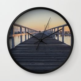 pier during sunset Wall Clock