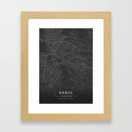 Kabul, Afghanistan - Dark Map Framed Art Print