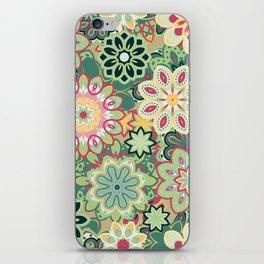 Retro kaleidoscope flower background pattern. Boho mandala ornate. iPhone Skin