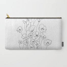 Poppy Flowers Line Art Carry-All Pouch