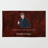 dean winchester Area & Throw Rugs featuring Supernatural - Dean Winchester by MacGuffin Designs