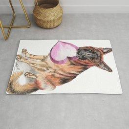 German Shepherd love , cute GSD dog watercolor with heart Rug