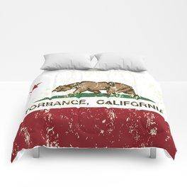 Torrance California Republic Flag Distressed Comforters