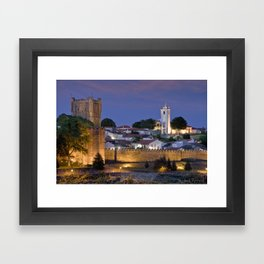Braganca castle at dusk, Portugal Framed Art Print