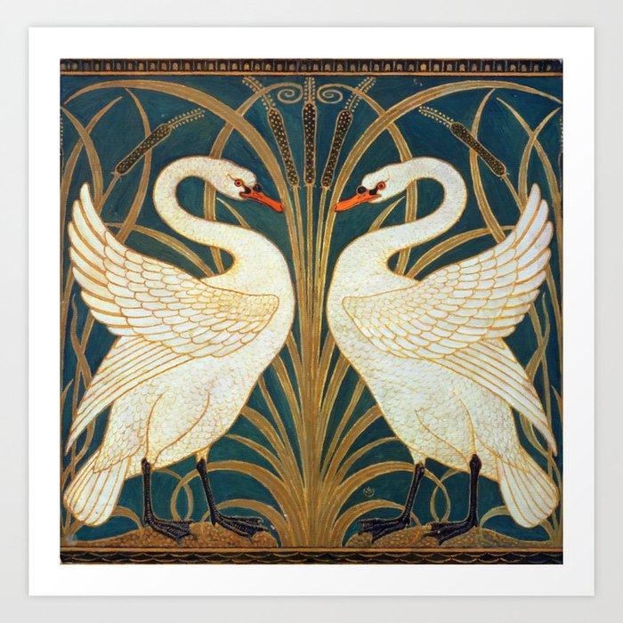 Walter Crane Swan, Rush And Iris Kunstdrucke