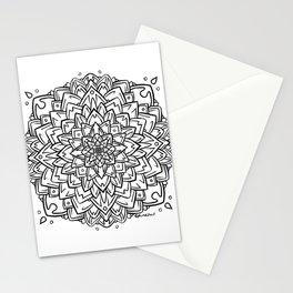 Gem Succulent Mandala A - Black Stationery Cards