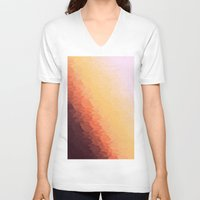 ombre V-neck T-shirts featuring Peach Ombre by Simply Chic