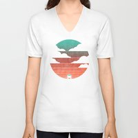 summer V-neck T-shirts featuring Go West by Picomodi