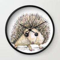 hedgehog Wall Clocks featuring Hedgehog by Bwiselizzy