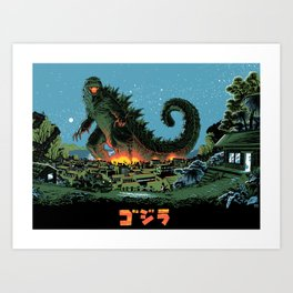 Godzilla - Blue Edition Art Print