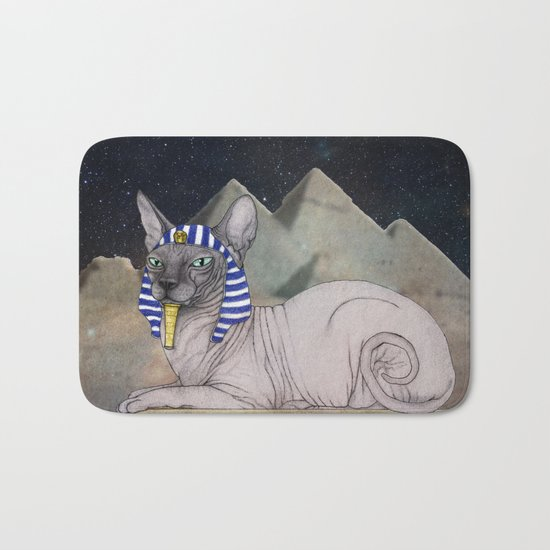 Sphynx Cat (space bg) Bath Mat