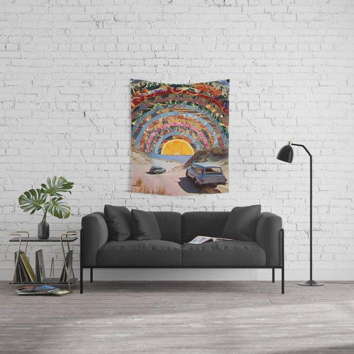 Orange sunset Wall Tapestry