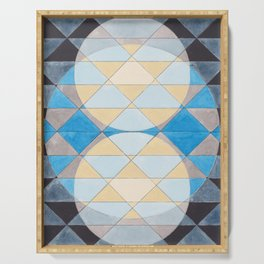 Triangle Pattern No. 14 Circles in Black, Blue and Yellow Serving Tray