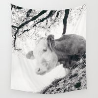 cow Wall Tapestries featuring COW by Julia Aufschnaiter