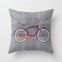 british flag Throw Pillows featuring British Bicycle by Wyatt Design