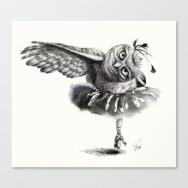 Owl Lake - Black Owl Canvas Print