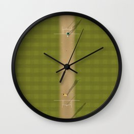 Cricket Match | Aerial Illustration Wall Clock