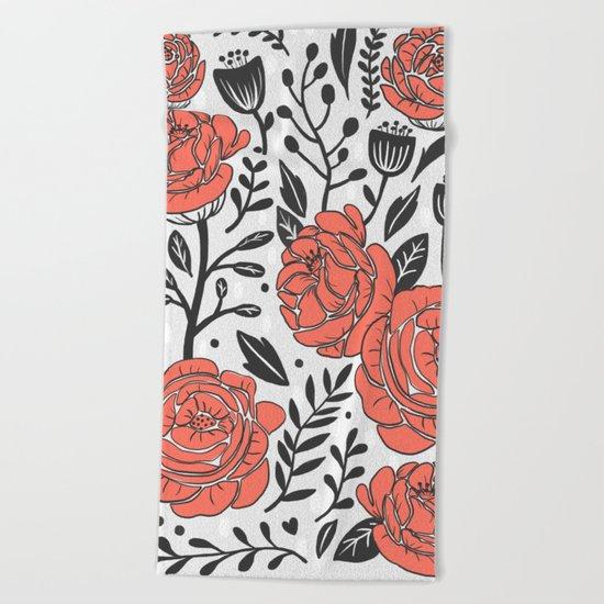Orange Garden Beach Towel