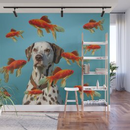 Dalmatian Dog with goldfishes Wall Mural