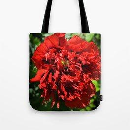 Crimson Peony Poppy Tote Bag