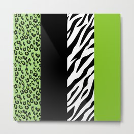 Animal Print, Zebra Stripes, Leopard Spots - Green Metal Print