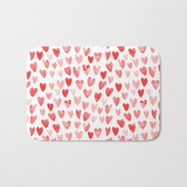 Watercolor heart pattern perfect gift to say i love you on valentines day Bath Mat