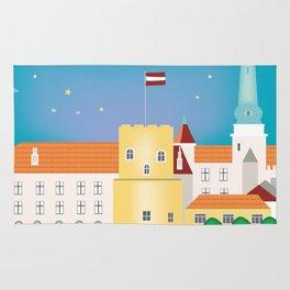 Riga, Latvia - Skyline Illustration by Loose Petals Rug
