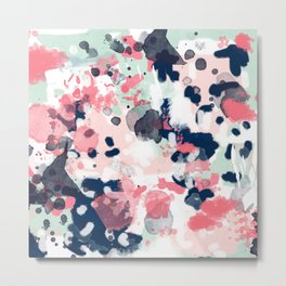 Lola - Painted abstract trendy color palette minimal decor nursery home Metal Print